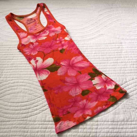 Free People Rib Tank Top Tropical Shimmer S